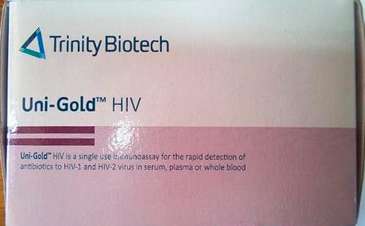 muestras del producto falsificado Uni-Gold HIV