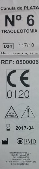 Imagen del marcado CE falso de la canula de plata para traqueotomia Boss Medical Device S.L.
