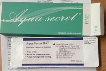"""Imagen del estuche y etiquetado del producto """"Aqua secret HA"""""""