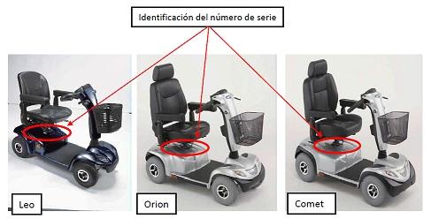 Imagen que refleja donde se ubica la identificación del número de serie de los Scooter Invacare® Leo, Orion y Comet