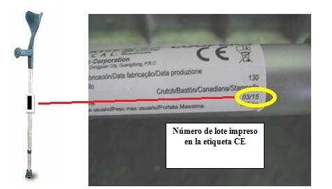 Bastón de codera integral con el número de lote impreso en la etiqueta CE señalado