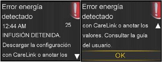 """Mensaje de """"error de energía detectado"""" acompañado del número 25."""